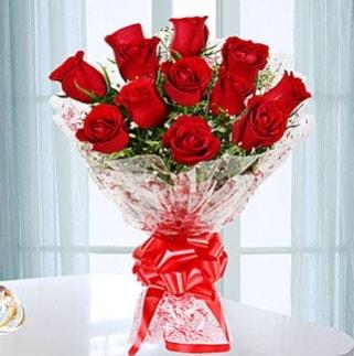 11 adet kırmızı gülden görsel şık buket  Adıyaman ucuz çiçek gönder