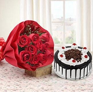 12 adet kırmızı gül 4 kişilik yaş pasta  Adıyaman çiçek , çiçekçi , çiçekçilik