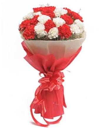 21 adet kırmızı beyaz karanfil buketi  Adıyaman çiçek satışı