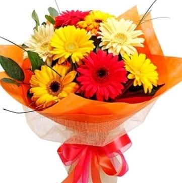 9 adet karışık gerbera buketi  Adıyaman çiçek , çiçekçi , çiçekçilik