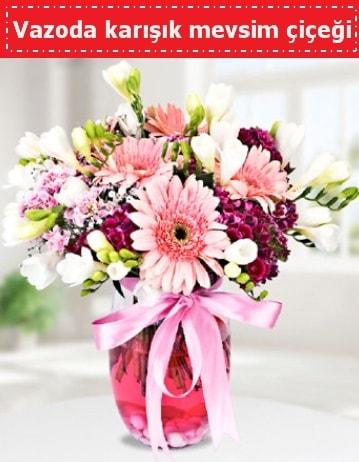 Vazoda karışık mevsim çiçeği  Adıyaman çiçek , çiçekçi , çiçekçilik