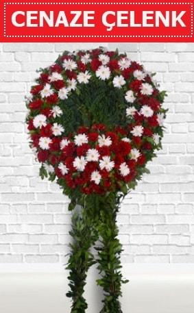 Kırmızı Beyaz Çelenk Cenaze çiçeği  Adıyaman İnternetten çiçek siparişi