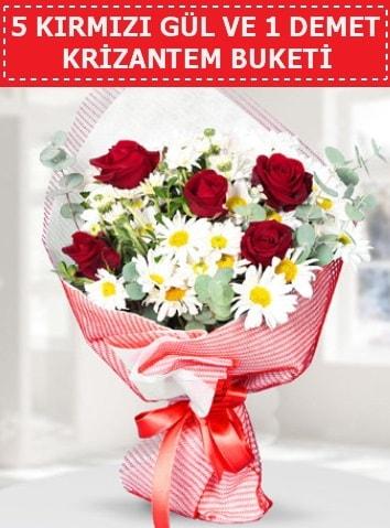 5 adet kırmızı gül ve krizantem buketi  Adıyaman çiçek satışı