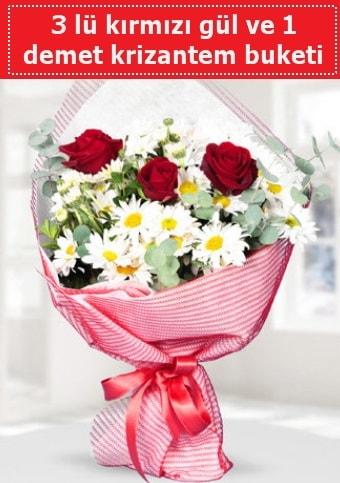 3 adet kırmızı gül ve krizantem buketi  Adıyaman çiçek gönderme sitemiz güvenlidir