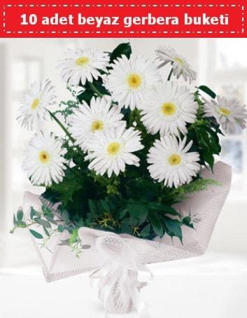 10 Adet beyaz gerbera buketi  Adıyaman çiçek , çiçekçi , çiçekçilik