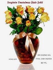 Adıyaman internetten çiçek satışı  mika yada Cam vazoda 12 adet sari gül